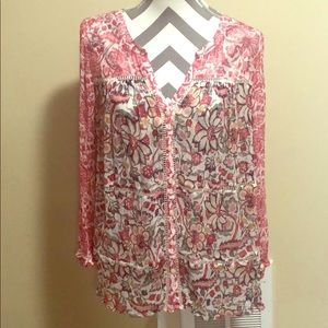 Lucky Brand Boho Sheer Floral Blouse Size Small